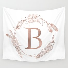 Letter B Rose Gold Pink Initial Monogram Wall Tapestry