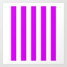 Phlox violet - solid color - white vertical lines pattern Art Print