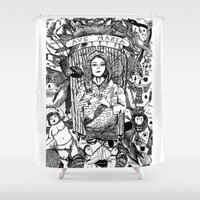patriarchy Shower Curtains featuring Ave Maria (Deicide) by JenRiel