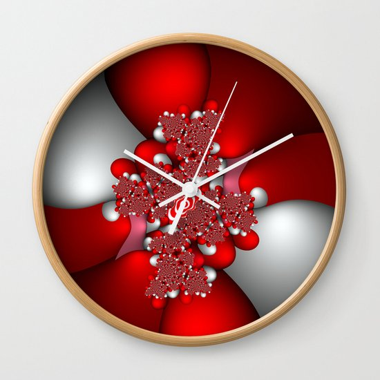 Red, silver and pink fractal Wall Clock