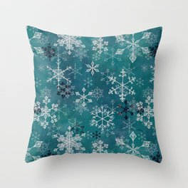 Snowflake Crystals in Turquoise Throw Pillow