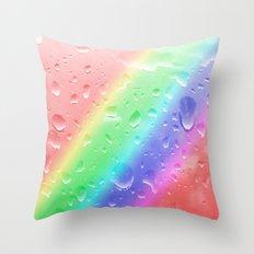 Rain on the rainbow Throw Pillow