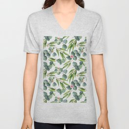 Bamboo and eucaliptus pattern Unisex V-Neck