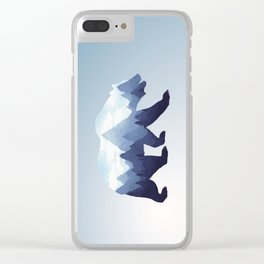 Bear Double Exposure Surreal Wildlife Animal Grizzly Wilderness Outdoors Clear iPhone Case