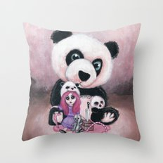 Candie and Panda Throw Pillow