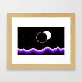 Other World Black Moon Space Landscape Framed Art Print