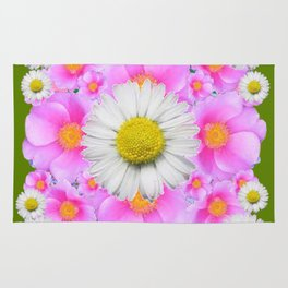 Avocado Color Shasta Daisies Rose Pattern Garden Rug