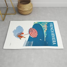 1954 FRENCH RIVIERA Travel Poster Rug