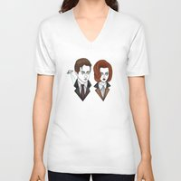 scully V-neck T-shirts featuring mulder and scully by Bunny Miele