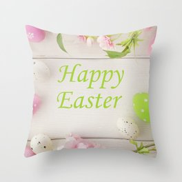 Happy Easter Farmhouse Style Eggs and Whitewashed Boards with Flowers Throw Pillow