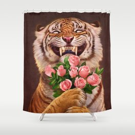 Smiling (shy) Tiger - holding bouquet (rose) Shower Curtain
