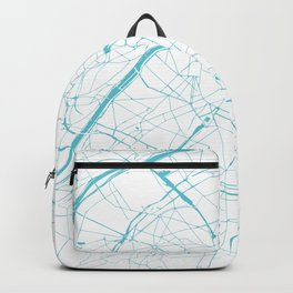 Paris France Minimal Street Map - Turquoise Blue and White Backpack