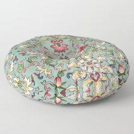 Asian Floral Pattern in Turquoise Blue Antique Illustration Floor Pillow