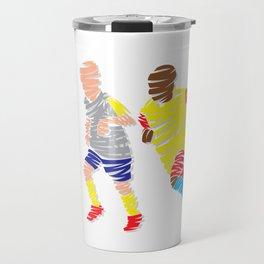 Abstract Soccer player Travel Mug