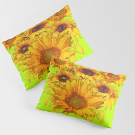 chartreuse Yellow Sunflowers Abstract Pillow Sham