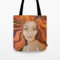 redhead Tote Bags featuring Redhead by Sophie Klimos