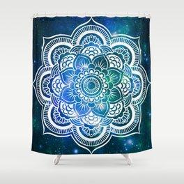 Mandala : Blue Green Galaxy Shower Curtain