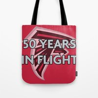 nfl Tote Bags featuring NFL - Falcons 50 Years by Katieb1013