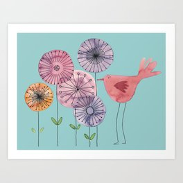 "Birdy blue ""Speak to me!"" Art Print"