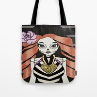 monster high Tote Bags featuring Skelita - Monster High by Jeeny Trindade