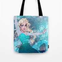 frozen elsa Tote Bags featuring Frozen Elsa by Teo Hoble