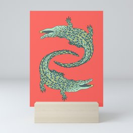 Crocodiles (Deep Coral and Mint Palette) Mini Art Print