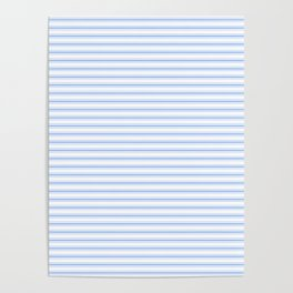 Mattress Ticking Narrow Horizontal Stripe in Pale Blue and White Poster