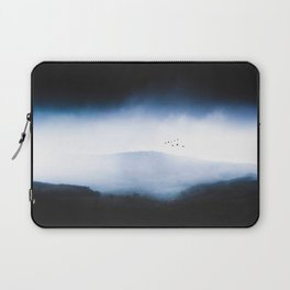 Misty Mountains Low Cloudy Sky Birds Landscape Laptop Sleeve