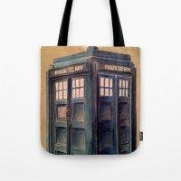 tardis Tote Bags featuring TARDIS by Jordan