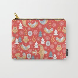Fairy forest, deer, owls, foxes. Decorative pattern in Scandinavian style on a red background. Folk Carry-All Pouch