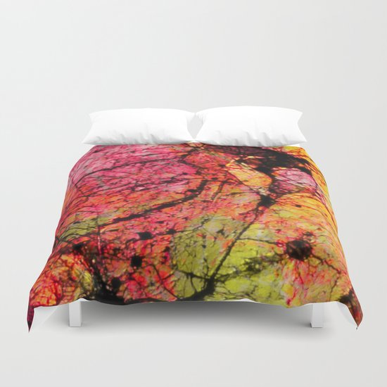 Conflict - textured abstract in pink, black and yellow Duvet Cover