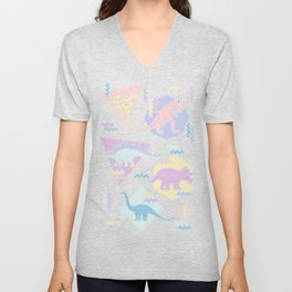Nineties Dinosaurs Pattern  - Pastel version Unisex V-Neck