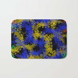 Multicolored delicate pastel blue circles and yellow ellipses depicting abstract ornamental green fl Bath Mat