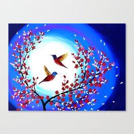 Red Cherry Blossom Canvas Print