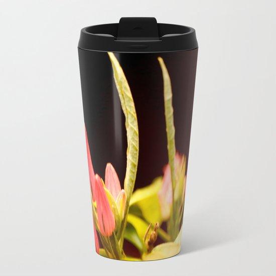 Exotic Colorful Flowers Metal Travel Mug