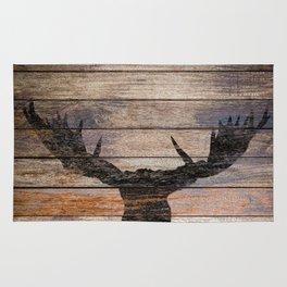 Rustic Black Moose Silhouette A424b Rug