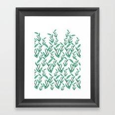 Green Water Leaves Framed Art Print