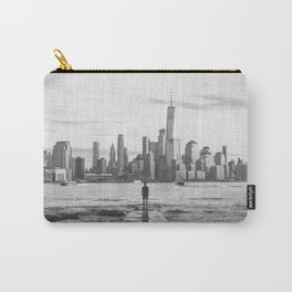 New York City Skyline Views and Vibes Black and White Carry-All Pouch