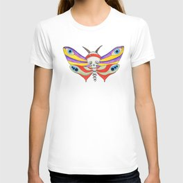 Watercolor butterfly skull multicolored T-shirt