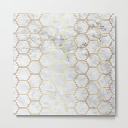 Honeycomb Marble Gold #767 Metal Print