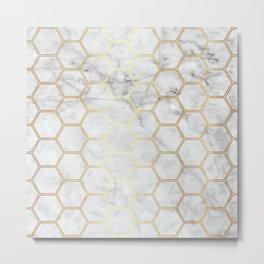 Geometric Honeycomb Pattern - Marble & Gold #767 Metal Print