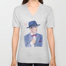 Man wearing a hat Unisex V-Neck