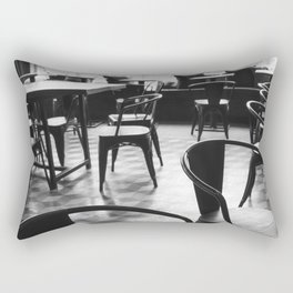 Chairs in a vintage Parisian cafe - Black and white photography Rectangular Pillow