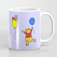 piglet Mugs featuring pooh and piglet by BlackBlizzard