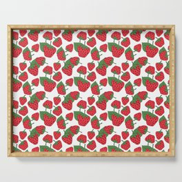 Strawberries - Summer Doodle Pattern Serving Tray
