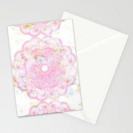 Pastel pink mandala ornament design Stationery Cards