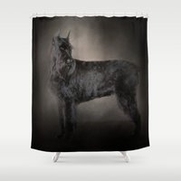 schnauzer Shower Curtains featuring The Giant Black Schnauzer by Jai Johnson