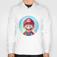 mario kart Hoodies featuring Mario Portrait by Laurence Andrew Page Illustrator