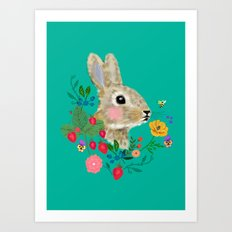 Rabbit head with flowers and berries Art Print