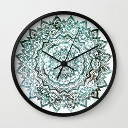 Emerald Jewel Mandala Wall Clock